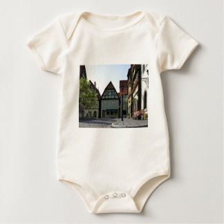 Bavarian Town Street Corner Scene Baby Bodysuit