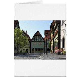 Bavarian Town Street Corner Scene Card