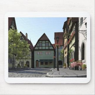 Bavarian Town Street Corner Scene Mouse Pad