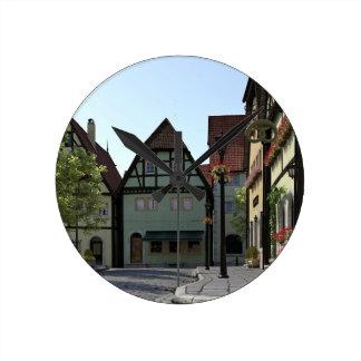 Bavarian Town Street Corner Scene Round Clock