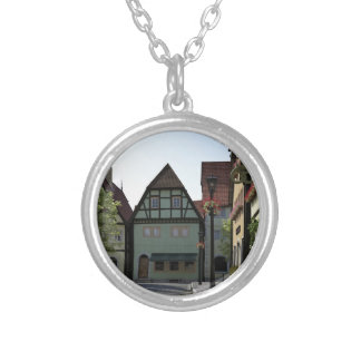 Bavarian Town Street Corner Scene Silver Plated Necklace