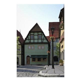 Bavarian Town Street Corner Scene Stationery