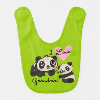 Bavoir de grand-maman d'amour des pandas I