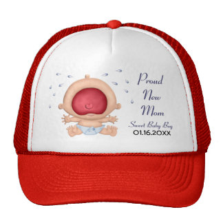 Bawling Baby - Boy Announcement for New Mom Hats