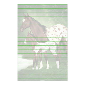 Bay and White Appaloosa Mare and Foal Print Stationery