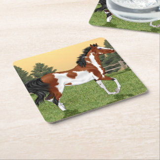 Bay and White Pinto Arabian Horse Square Paper Coaster