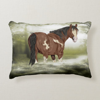 Bay and White Splash Overo Paint Horse Accent Pillow