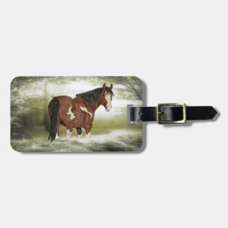 Bay and White Splash Overo Paint Horse Luggage Tag
