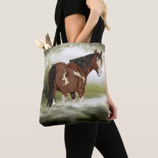 Bay and White Splash Overo Paint Horse Tote Bag
