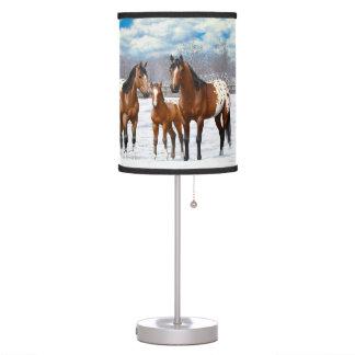 Bay Appaloosa Horses In Snow Table Lamp