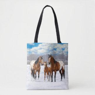 Bay Appaloosa Horses In Snow Tote Bag