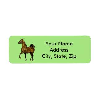 Bay Arabian Horse Return Address Label