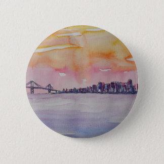 Bay Area Skyline San Francisco With Oakland Bridge 2 Inch Round Button