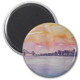 Bay Area Skyline San Francisco With Oakland Bridge Magnet