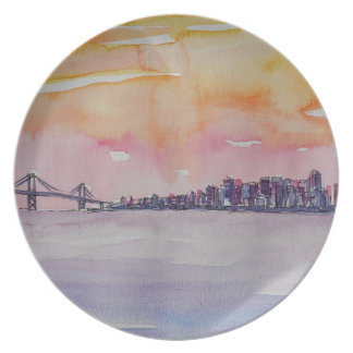 Bay Area Skyline San Francisco With Oakland Bridge Plate