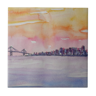 Bay Area Skyline San Francisco With Oakland Bridge Tile