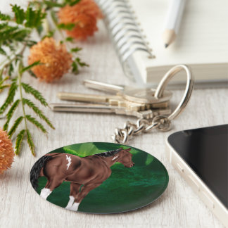 Bay Dun Tobiano Paint Horse in Thicket Keychain