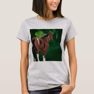 Bay Dun Tobiano Paint Horse in Thicket T-Shirt