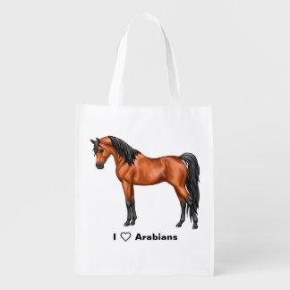 Bay Egyptian Arabian Horse Reusable Grocery Bag