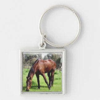 Bay Horse Green Pick Silver-Colored Square Keychain