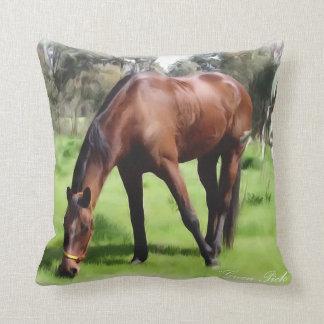Bay Horse Green Pick Throw Pillow
