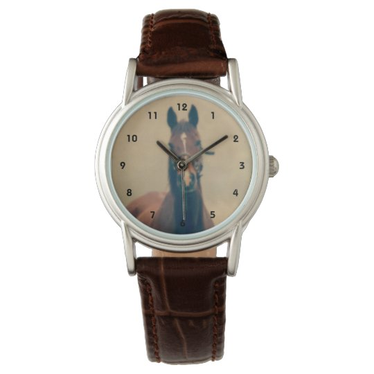 Bay Horse Standing in a Field Wrist Watches