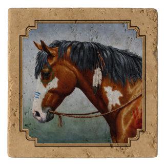 Bay Indian Pony Pinto Horse Tan Trivet