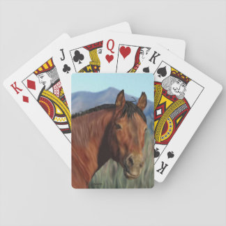Bay Mustang Horse Playing Cards