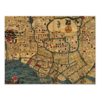 Bay of Tokyo Japanese map Poster, Edo Period Poster