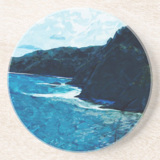 Bay On The Road To Hana Maui Abstract Beverage Coasters