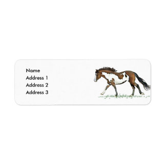 Bay Paint Horse Cantering, Address 2, Address 3... Return Address Label
