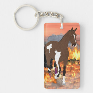 Bay Paint Horse Trotting Through Fire Keychain
