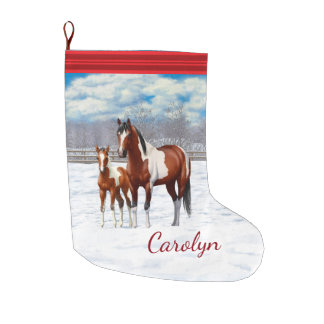 Bay Paint Horses In Snow Large Christmas Stocking