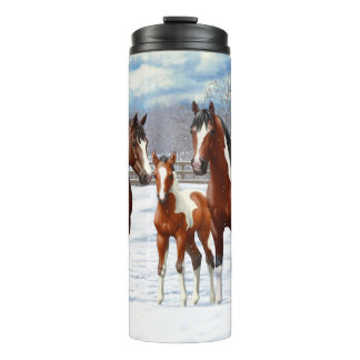 Bay Paint Horses In Snow Thermal Tumbler