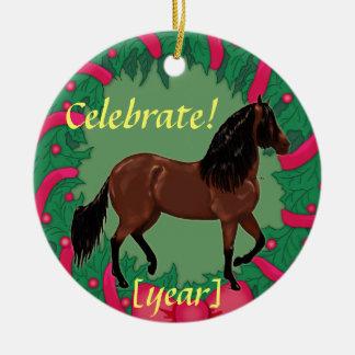 Bay Paso Fino Horse Celebrate Christmas Ceramic Ornament