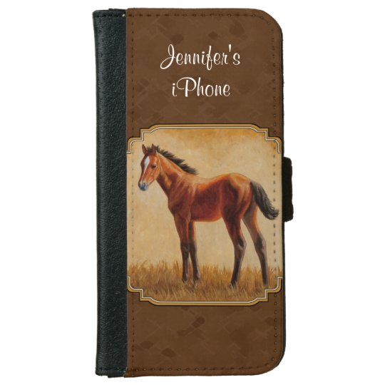 Bay Quarter Horse Foal Brown iPhone 6 Wallet Case