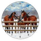 Bay Quarter Horses In Snow Large Clock