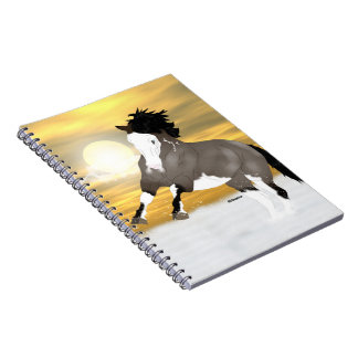 Bay Roan Overo Pinto Mustang Horse Notebooks
