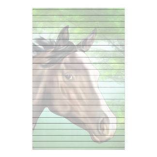 Bay Thoroughbred Horse Head Portrait Print Stationery