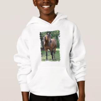 Bay Thoroughbred Horse Kid's Hooded Sweatshirt