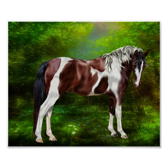 Bay Tobiano Paint Horse Poster