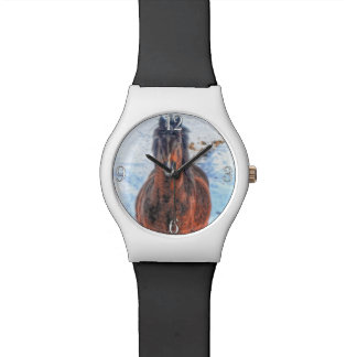 "Bay Winter Horse ""Year of the Horse"" Equine photo Wrist Watch"