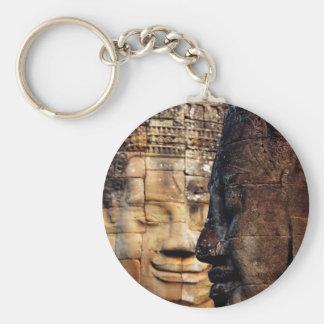 Bayon faces Angkor Kingdom Cambodia Basic Round Button Keychain