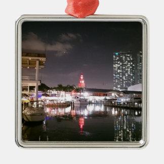 Bayside Market place Miami Silver-Colored Square Ornament