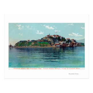 Bayview of Alcatraz Island and Prison Postcard