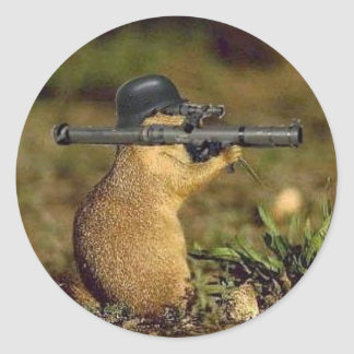 bazooka gopher classic round sticker