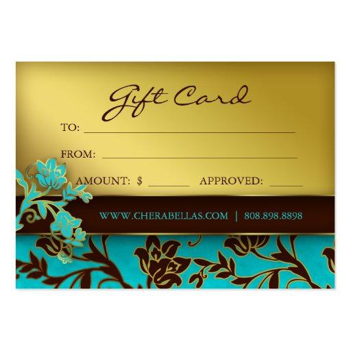 BB floral d'or de spa de chèque-cadeau de salon de Cartes De Visite Personnelles