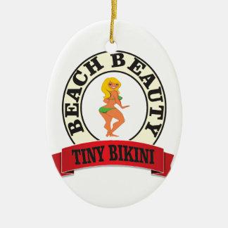 bb tiny bikini ceramic oval ornament