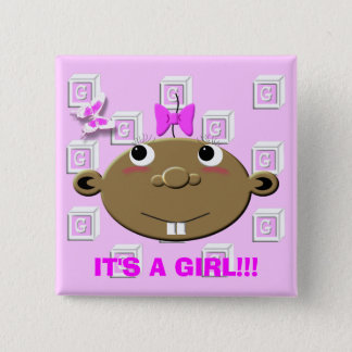 BBGBLOCKS, IT'S A GIRL!!! 2 INCH SQUARE BUTTON