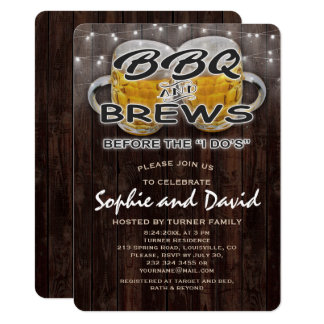 """BBQ and BREWS before the """"I DO'S"""" Engagement Party Card"""